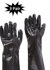 West Chester 12018 18 Chemical Resistant Gloves, Large, Black (Pack of 3 Pair)
