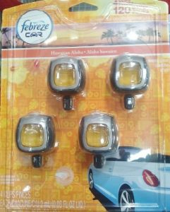 Febreze Car Clip Air Freshner 4 Pack Hawaiian Aloha Scent