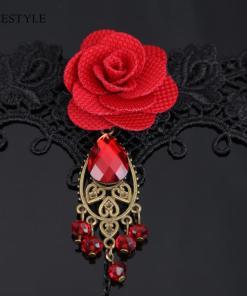 Ensemble Style Gothique Dentelle Rouge Avec Rose + Bague Et Parures De Perles 5