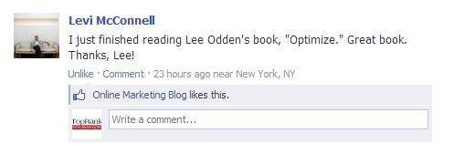 Optimize book by Lee Odden Facebook comment