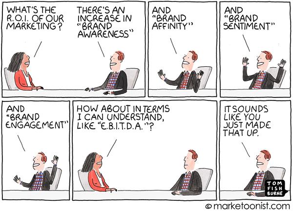 Marketoonist Tom Fishburne ROI of Marketing Cartoon
