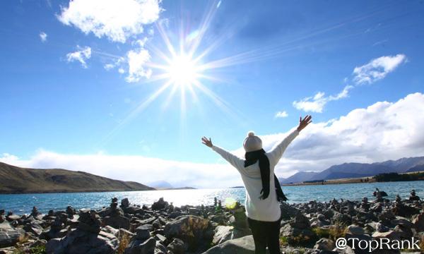 Woman By Sunny Lake Image