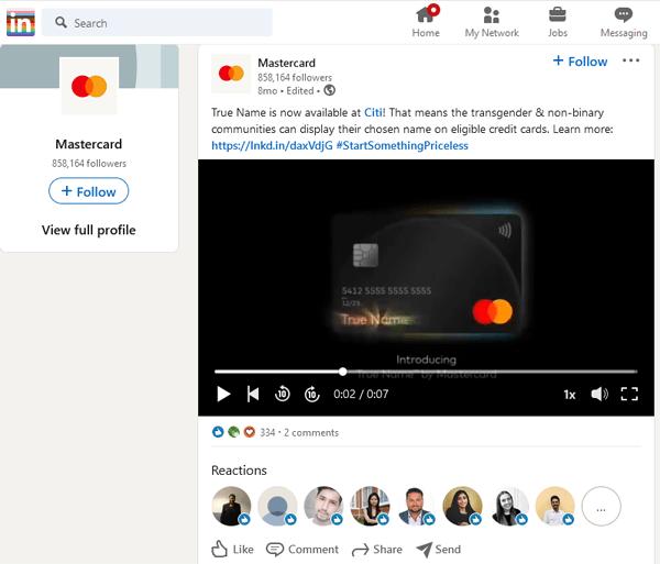 True Name By Mastercard LinkedIn Screenshot