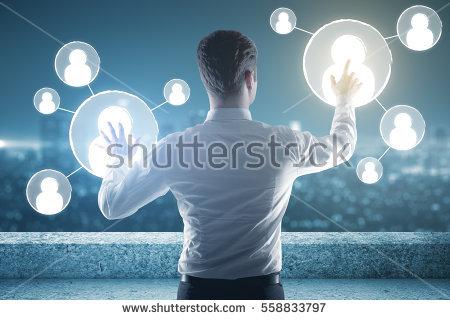 businessman using futuristic computer interface