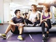 asian young people talking gym three resting working out 103464859