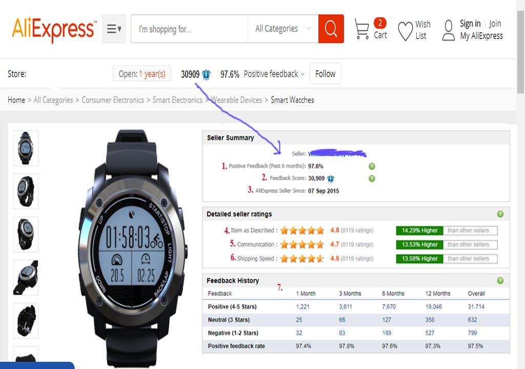 Aliexpress Shopping Guide . Seller Feedback