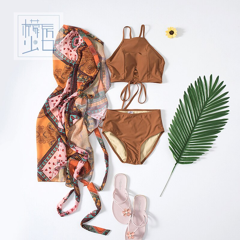 2018 Promotion Hot Sale Amown Beach Female Three Sets Of Small Fragrant South Korean Conservative Chest Gathered Bikinis