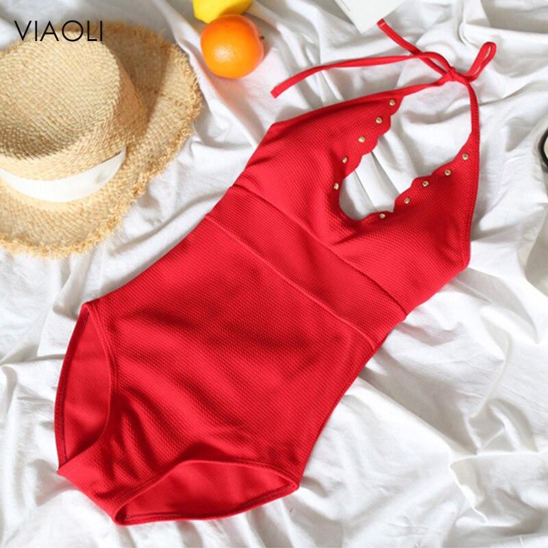 Korean Red V neck Bandage One Piece Swimming Suit Sexy Women Backless Bikinis Swimwear Bodysuit Swimsuit Bathing Suit Beachwear