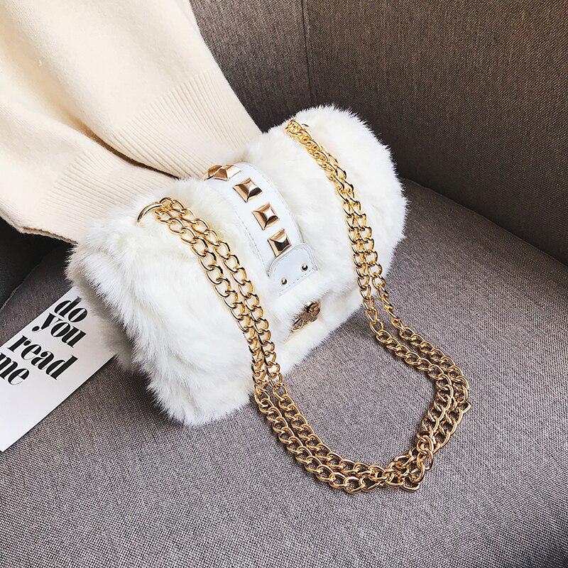 Women Mini Bag Faux Fur Leopard Print Small Shoulder Messenger Bags Fresh OL Lady Office Elegant Handbags Shopper Bags 2019