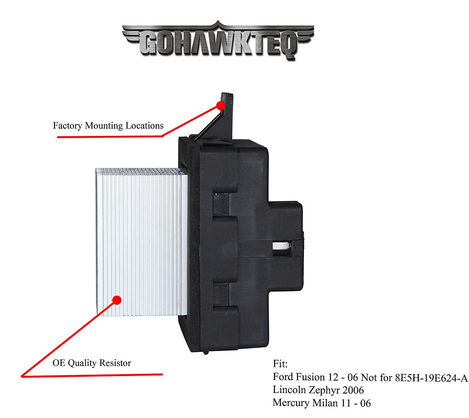 hight resolution of  blower motor resistor g020r for ford fusion lincoln mkz zephyr