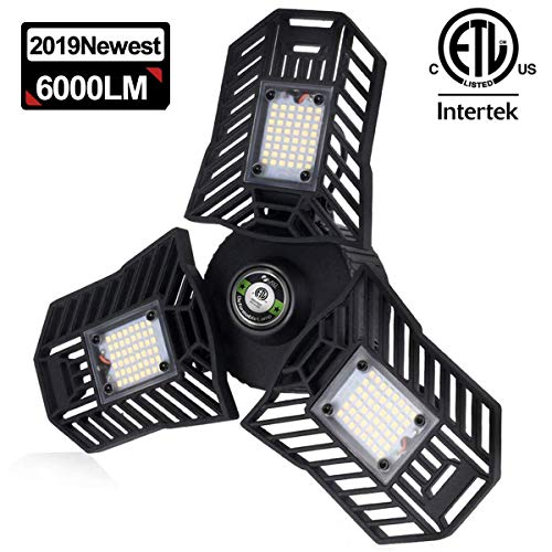 Garage Light 6000LM Tribright Garage Light Bulb 6000K Daylight Triple Grow LED Lights Deformable LED Garage Light Fixture 60W Trilight Garage Ceiling Lighting