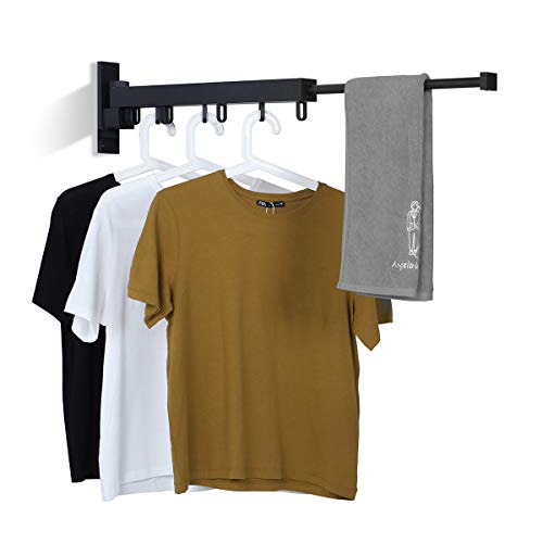 BENOSS Wall Mounted Clothes Hanger Space-Saver Retractable Garment Laundry Drying Rack Easy to Install for Balcony Laundry Bathroom and Bedroom Black-Short