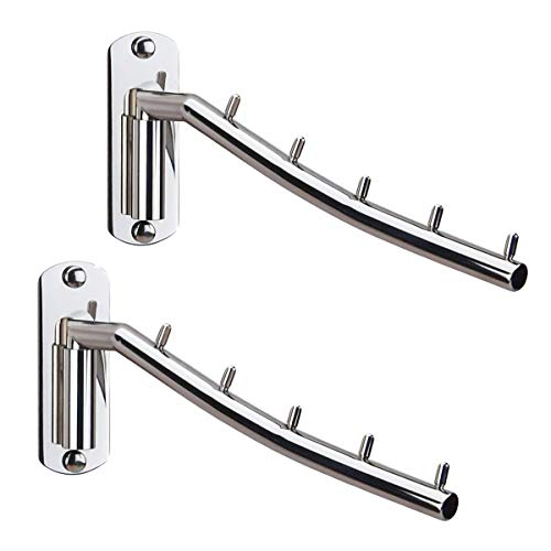 Kunovo 2 Pack Folding Wall Mounted Clothes Hanger Rack Wall Clothes Hanger Hook Stainless Steel 304 Swing Arm Holder Clothing Hanging System Closet Storage Organizer