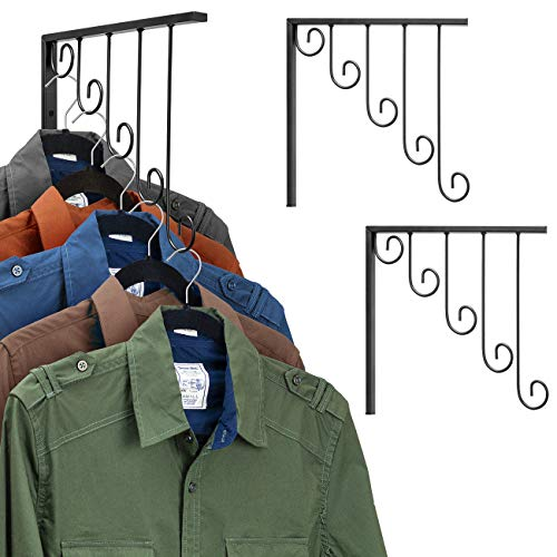 Sorbus Garment Racks Set of 3 Wall Mounted 5 Bracket Hooks for Clothing or Laundry Organizers Display Hanging Racks for Clothes Retail Commercial or Home Black