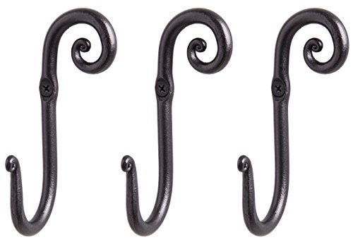 RTZEN Decorative Stylish Wall Mounted Hooks 3 Handmade Wrought Iron Right Swirl Hangers for Coat Hat Jacket Robe Bath Towel  Mug Hooks  Black Scroll Hangers  Handcrafted Décor