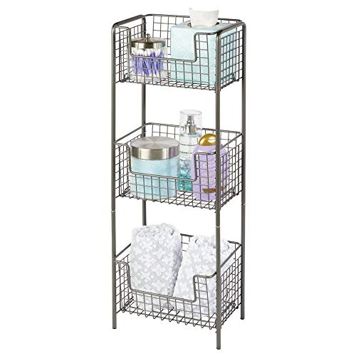 mDesign 3 Tier Vertical Standing Bathroom Shelving Unit Decorative Metal Storage Organizer Tower Rack with 3 Basket Bins to Hold and Organize Bath Towels Hand Soap Toiletries - Graphite Gray