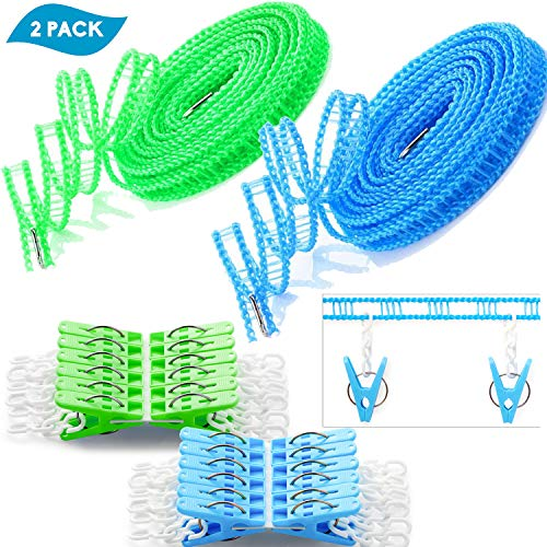 Foshine Clotheslines 2 Pack Clothesline Clothes with 24 pcs Clips Drying Rope Portable Windproof Travel Clothesline for Indoor Outdoor Laundry Perfect Windproof Clothes Line Hanger for Camping Home