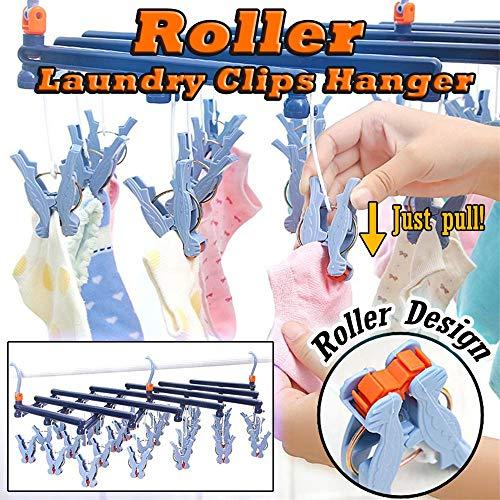 KCPer Laundry Hanger Drying Rack - Foldable Clip and Drip Hanger with 29 Clips-Roller Retractable Laundry Rack Underwear Socks Hook Hanger Dryer White