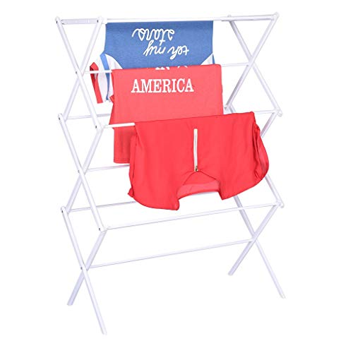 Mosunx Folding Clothes Drying Rack Metal Clothes Dryer for Laundry Rust Proof Telescopic Towel Hanger Heavy Duty Clothes Drying Stand White 283 x 146 x 413 inches