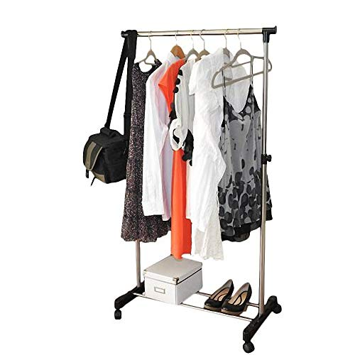 AYNEFY Clothing Garment Rack Simple Vertical and Horizontal Stretching Clothes Stand Single-bar Steel Rolling Closet Organizer Clothing Hanging Rack with Shoe Shelf YJ-01 Black Silver