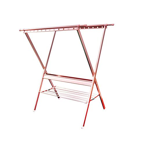 Folding Clothes Drying Rack Clothes Laundry Rack Foldable Outdoor Stand Stainless Steel Boom Color  Pink Size  19273136cm