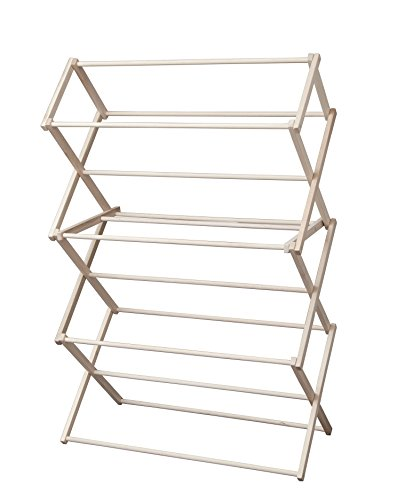 Indoor Household Wooden Folding Laundry Clothes Drying Rack - Large 40 Rack