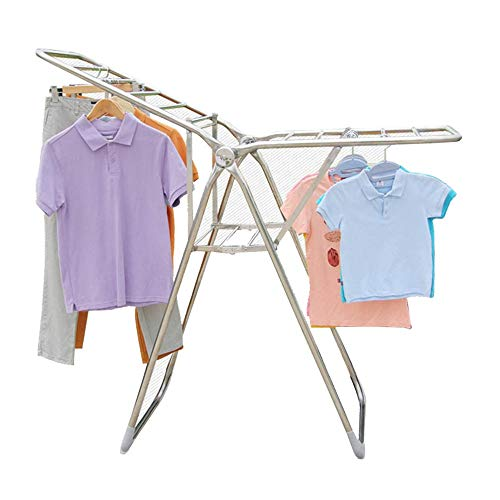 PengAnGuo Folding Clothes Drying Rack Multi-Purpose Clothes Drying Rack Rust-Proof Foldable Stable and Durable Laundry Rack Provides an Environmentally Friendly and Gentle Way to Dry Clothes