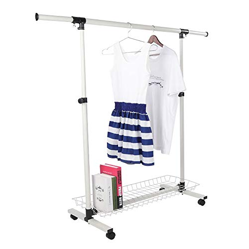 Adjustable Heavy-Duty Garment RackRolling Single Rail With Storage Shoe Rack Wardrobe RackSilver Collapsible Clothes Rack for Home Kitchen Living Room