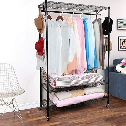 Homdox 3-Tiers Big Size Heavy Duty Wire Shelving Unit Garment Rack with Hanger Bar Wheels2 Pair Side HooksBlack