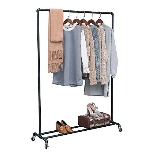 MBQQ Industrial Pipe Clothing Racks on WheelsHeavy Duty Garment Racks Commercial GradeVintage Rolling Ballet Rack Clothes Display Rack Retail Display