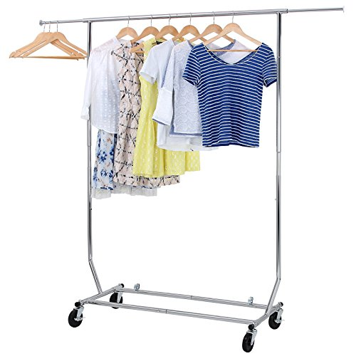 SONGMICS Rolling Garment Rack Collapsible Heavy-Duty Clothing Hanging Rack on Lockable Wheels Chrome Finish ULLR11C
