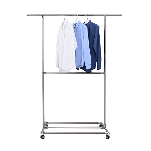 SUNPACE Clothes Garment Rack Heavy Duty 2 Tier Adjustable Rolling Clothing Rack on Wheels Multi-Function Hanging Rack Stainless Steel