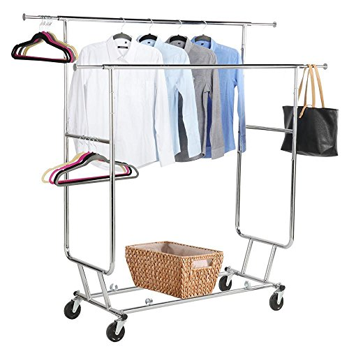 Yaheetech Commercial Clothing Garment Rack Rolling Collapsible Rack Hanger Holder Heavy Duty Double Rail Clothes Rack Extendable Clothes Hanging Rack 2 Omni-directional Casters wBrake250 lb Capacity