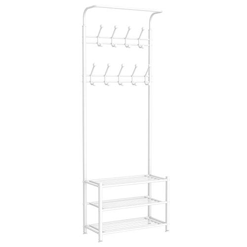 Yaheetech Fashion Heavy Duty Garment Rack with Shelves 3-Tier Shoes RackCoat Rack with Hanger Bar White