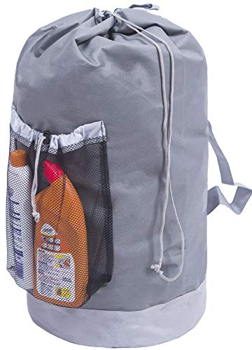 Amborido Extra Large Laundry Backpack with Shoulder Straps and Mesh Pocket Durable Nylon Backpack Clothes Hamper Bag with Drawstring Closure Gray