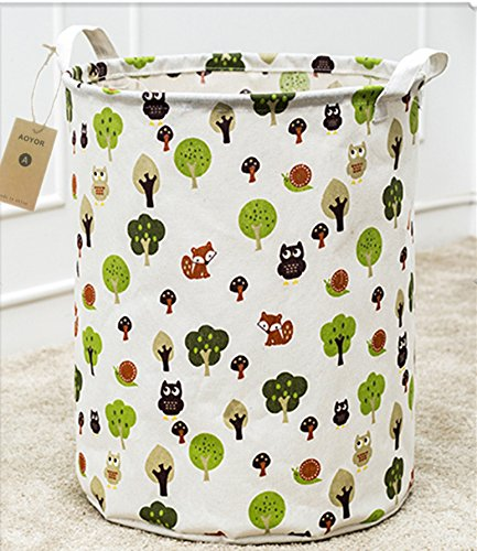 Kids Laundry Canvas Basket Toy Storage Bin Fabric Nursery Hamper Large Laundry with HandleCollapsible Convenient Tree
