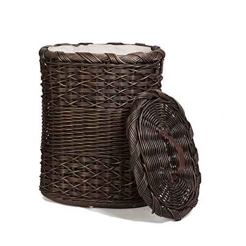 The Basket Lady Oval Wicker Laundry Hamper Large 19 in L x 15 in W x 25 in H Antique Walnut Brown