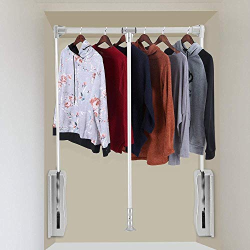 uyoyous Pull Down Closet Rod Adjustable 35-467 Inch Wardrobe Lift Heavy Duty Clothes Rod Hanger for Hanging Clothes Space Saving Chrome