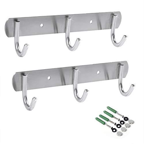 Newness Wall-Mounted Coat Rack 3-Hooks Coat Hooks Rail Heavy Duty Towel Rack Modern Stainless Steel Door Holder for Coat Belt Keys Headset Clothes Hanger Rack for Bathroom Kitchen 2 Pack