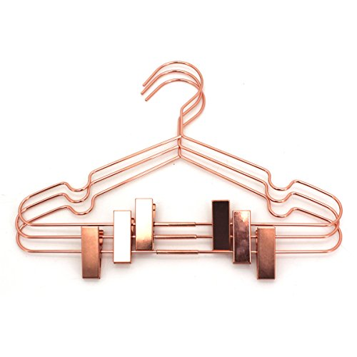 25Pack Koobay 13 Rose Gold Copper Shiny Metal Wire Clothes Hangers With Adjustable Clips for Shirts Coat Storage Display