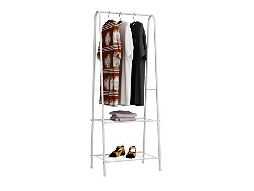 Homebi Garment Rack Metal Clothing Rack Coat Organizer Laundry Closet Storage Entrway Shelving Unit with Hanger and 2-Tier Durable Shelf for Shoes Clothes Storage in White236 Wx1319 Dx63 H
