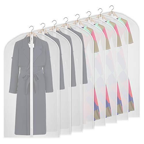 Syeeiex 8 Pcs 50 Suit Bags for Storage Waterproof Dustproof PEVA Garment Cover for Women Mens Shirt Coat Jackets Clear Clothes Carrier Bag