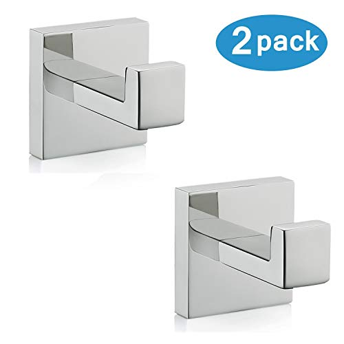 Nolimas Bath Towel Hook SUS 304 Stainless Steel Square Clothes Towel Coat Robe Hook Cabinet Closet Door Sponges Hanger for Bath Kitchen Garage Heavy Duty Wall Mounted Chrome Polished Finish2Pack