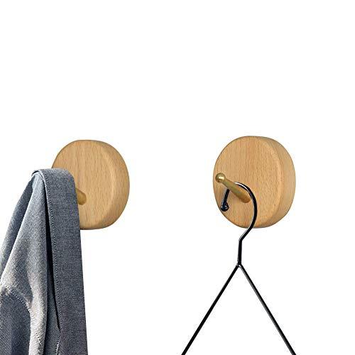 Natural Novelty Decorative Wooden Coat Hooks - Wall Hanger Bathroom Hooks Solid Wood Coat Rack with Brass Hook Wall Mounted Kitchenware Organizer Hooks Handmade Coat Hanger Key HolderBeech 2pcs