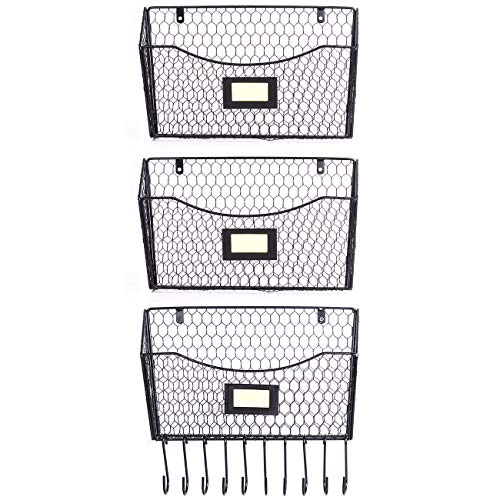 3 Pack Wall Mounted File Holder Hanging Mesh Metal Basket Wire Magazine Rack Shelf with 10 Accessory Hooks Name Tag SlotBlack