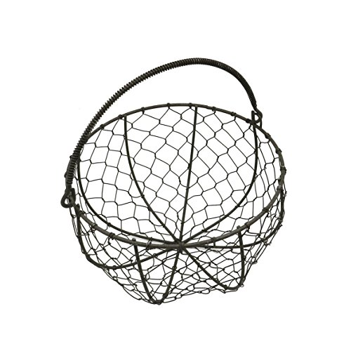 CVHOMEDECO Round Metal Wire Egg Basket Wire Gathering Basket with Handle Country Vintage Style Storage Basket Rusty Dia 8 X H 4-34 Inch