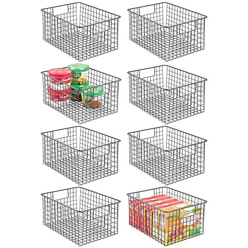 mDesign Farmhouse Decor Metal Wire Food Storage Organizer Bin Basket with Handles - for Kitchen Cabinets Pantry Bathroom Laundry Room Closets Garage - 12 Inches - 8 Pack - Graphite Gray