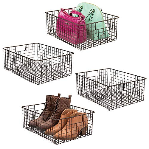 mDesign Large Farmhouse Metal Wire Storage Basket Bin Box with Handles for Organizing Closets Shelves and Cabinets in Bedrooms Bathrooms Entryways and Hallways - 16 x 12 x 6 - 4 Pack - Bronze
