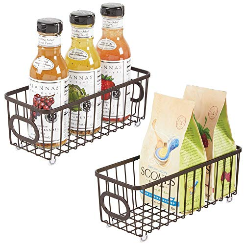 mDesign Metal Farmhouse Kitchen Pantry Food Storage Organizer Basket Bin - Wire Grid Design - for Cabinets Cupboards Shelves Countertops Closets Bedroom Bathroom - Small 2 Pack - Bronze