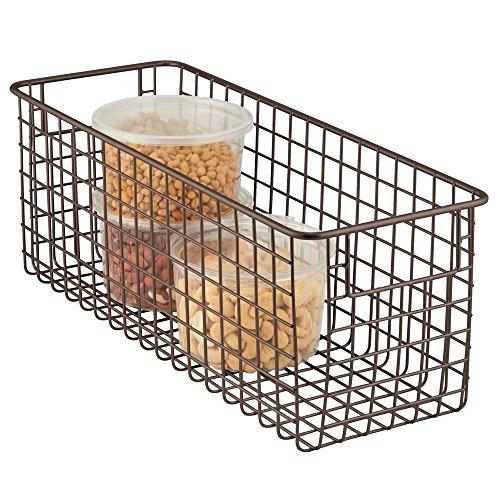 mDesign Narrow Farmhouse Decor Metal Wire Food Storage Organizer Bin Basket with Handles for Kitchen Cabinets Pantry Bathroom Laundry Room Closets Garage - 16 x 6 x 6 - Bronze